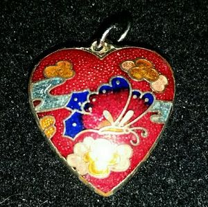 Vtg double side puff cloisonne heart pendant